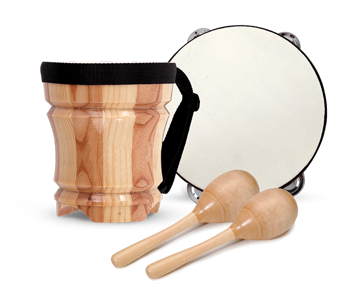 Percussion pack: wooden bongo, tambourine and maracas. | First Act Image