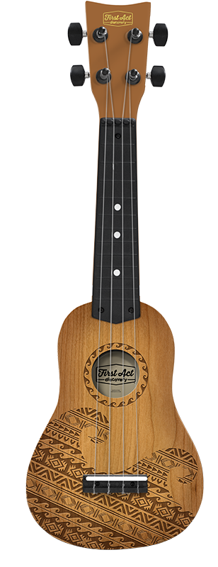 Teak Tribal Wave Ukulele Image