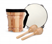 Percussion pack: wooden bongo, tambourine and maracas. | First Act Thumbnail